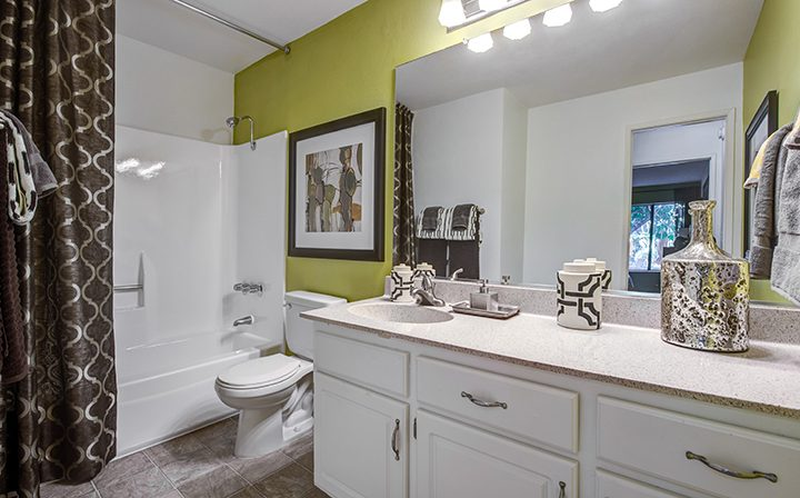Furnished bathroom with vanity lights over mirror at Woodland Hills apartments community Alura