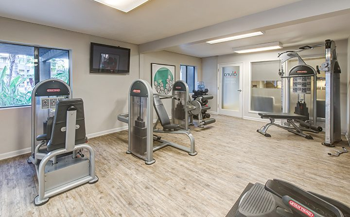 Woodland Hills apartments Alura fitness center with leg weight machines, large TVs, and windows