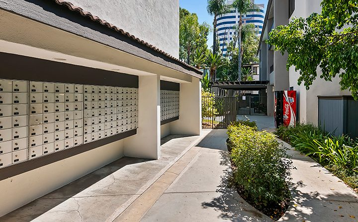 Outdoor mailboxes at Alura, a Woodland Hills apartments community