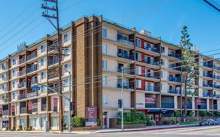 Streetside exterior view of Amanda Regency, Decron's San Fernando Valley apartments