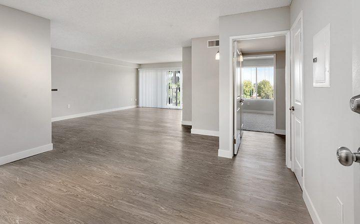 Sunny unfurnished living room at Amanda Regency, Decron's San Fernando Valley apartments