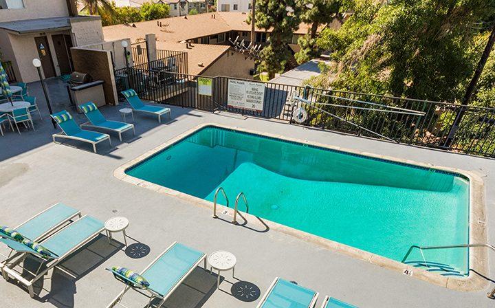 Aerial view of resort-style pool at Amanda Regency, Decron's San Fernando Valley apartments