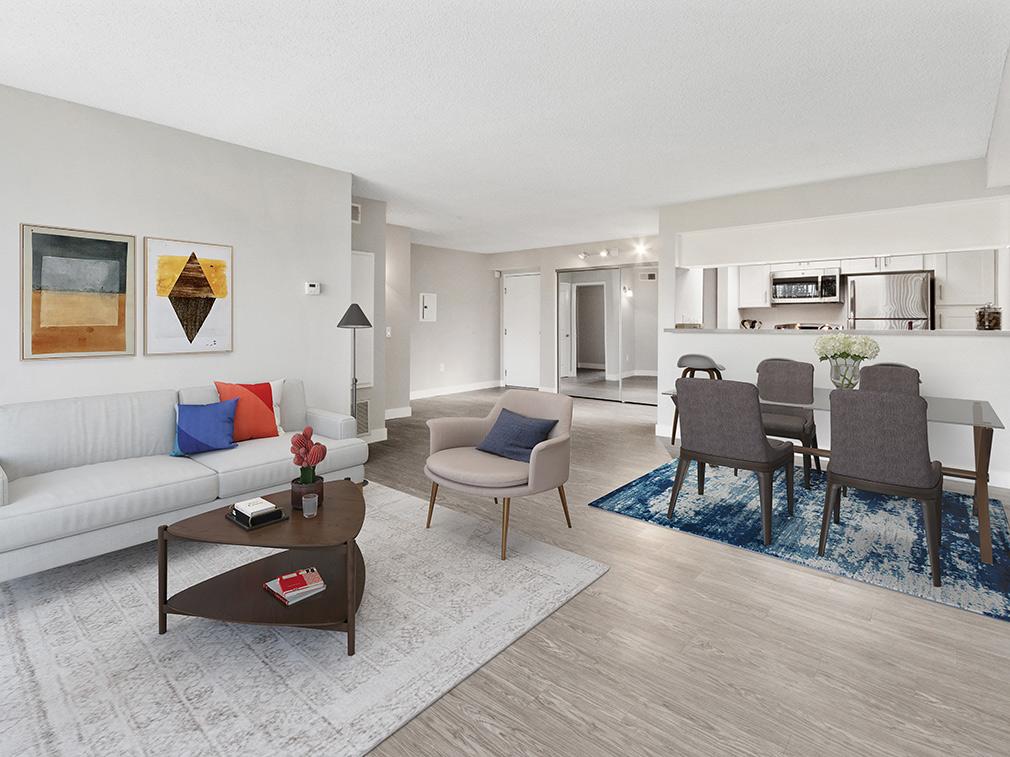 Furnished bedroom in model unit at Amanda Regency, Decron's San Fernando Valley apartments
