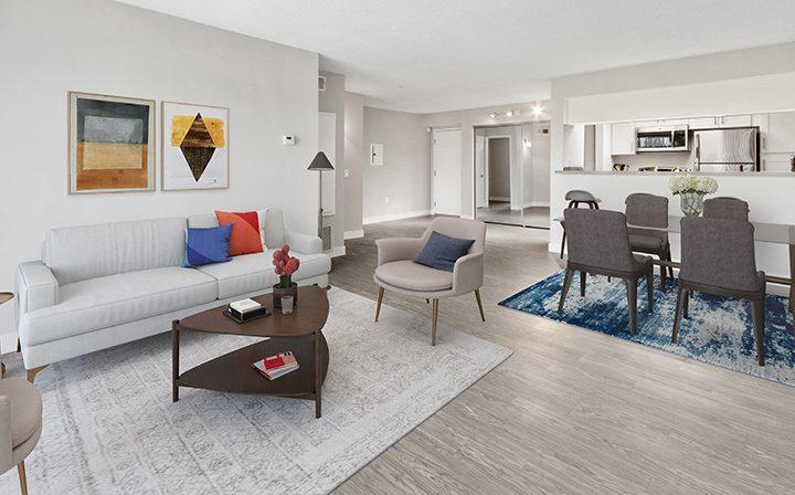 Furnished living area in model unit at Amanda Regency, Decron's San Fernando Valley apartments