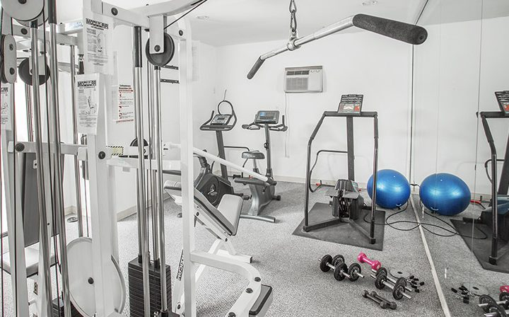 Fitness center with exercise balls and machines at the West Hollywood apartments community Ascent