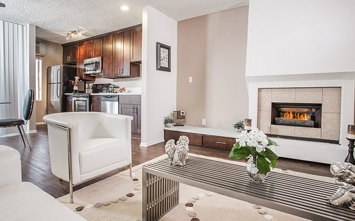 Furnished living room and kitchen at Ascent, West Hollywood apartments in Los Angeles county
