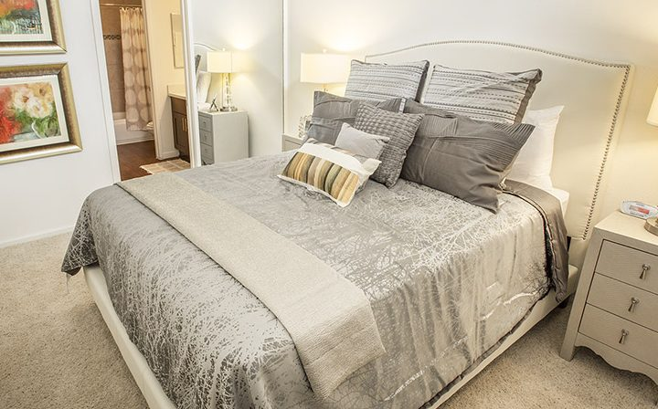 Furnished bedroom with carpeting at Ascent, West Hollywood apartments in Los Angeles county