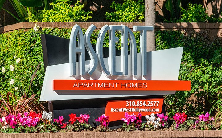 Placard in front of bushes with contact info for the West Hollywood apartments community Ascent