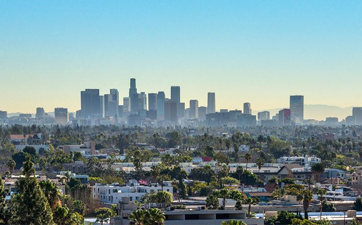 Daytime skyline city view from Ascent, West Hollywood apartments in Los Angeles county