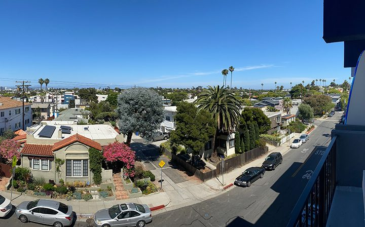 Fisheye view of the city from a balcony at the Pacific Ocean community, apartments in Santa Monica