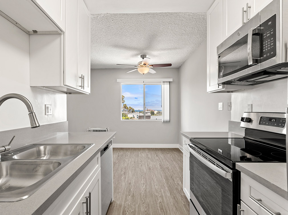 Kitchen at the Bay on 6th community, apartments in Santa Monica