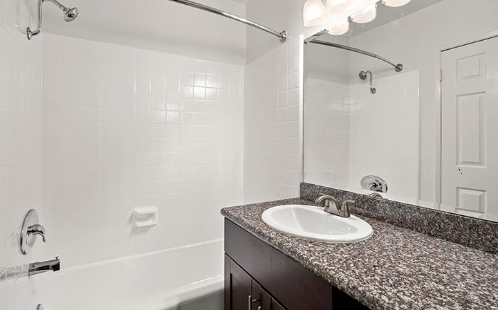 Bathroom at the Bay on 6th community, apartments in Santa Monica