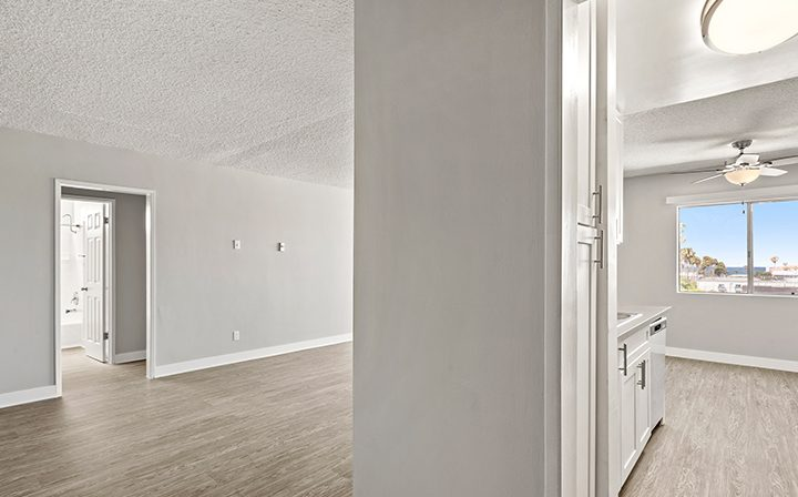 Bright living room area in a 1x1 unit at the Bay on 6th community, apartments in Santa Monica
