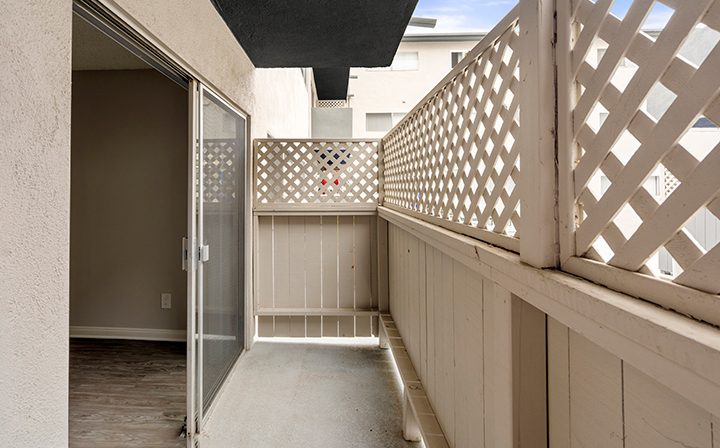 Patio outside unit at the Bay on 6th community, apartments in Santa Monica