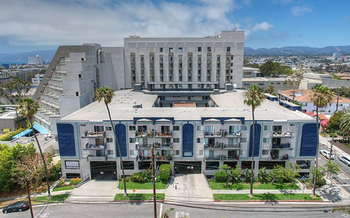 Aerial view of the surrounding area and Bay on 6th community, apartments in Santa Monica