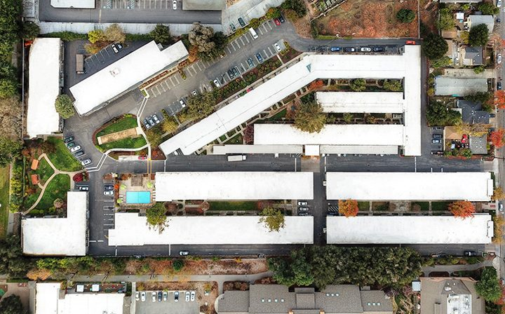 Aerial drone view of Mountain View apartments Highland Gardens and surrounding neighborhood