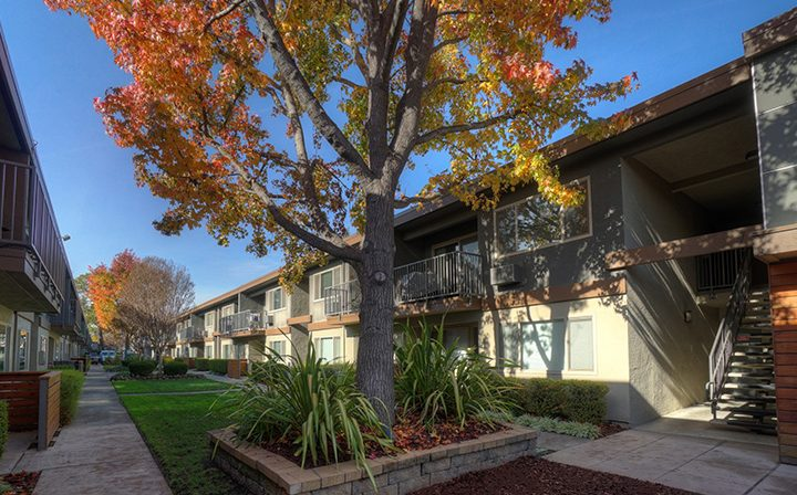 Unit exteriors, pathways, and foliage at Highland Gardens, a Mountain View apartments community