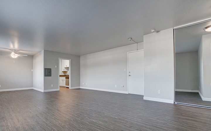 Unfurnished living room with mirrored sliding doors at Mountain View apartments Highland Gardens
