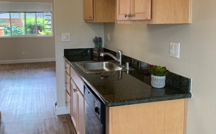 Kitchen with potted plants at Mountain View apartments community Highland Gardens bedroom