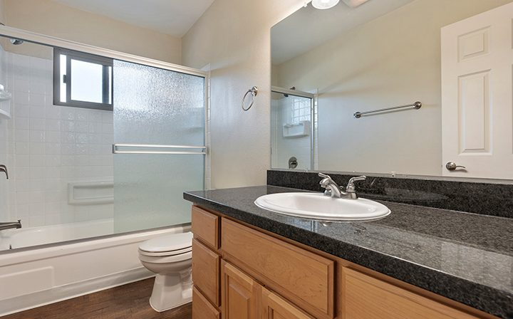 Sink and bathtub/shower Mountain View apartments community Highland Gardens