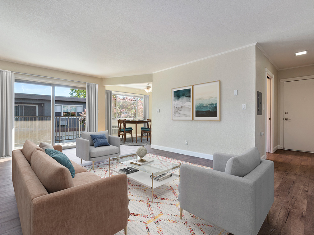 Furnished living room in model unit at Highland Gardens, apartments in Mountain View