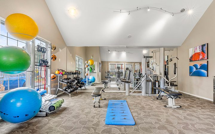 Fitness center with large windows and colorful balance balls at Indigo Springs apartments in Kent