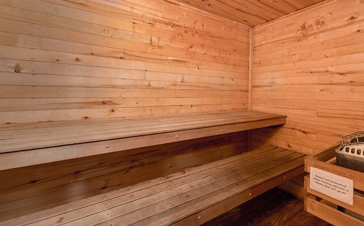 Benches in wood sauna wall, a premium amenity at the Los Angeles apartments community Kaitlin Court