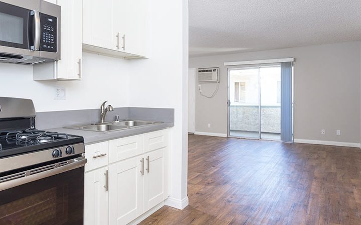 Kitchen nook with white cabinets at the Los Angeles apartments community Kaitlin Court