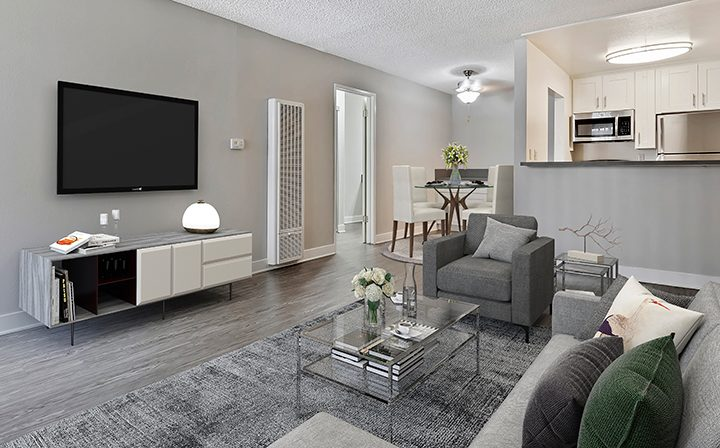 Furnished living room in model unit at Kaitlin Court, apartments in Los Angeles