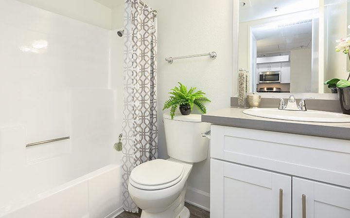 Furnished bathroom at the Koreatown apartments community Kingsley Drive in Los Angeles