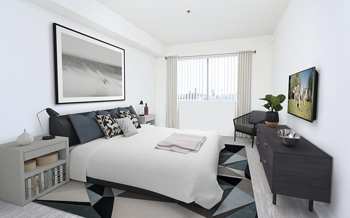 3D render of furnished bedroom at the Koreatown apartments community Kingsley Drive in Los Angeles