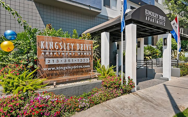 Placard and entrance to Koreatown apartments community Kingsley Drive in Los Angeles
