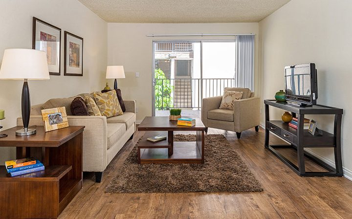 Furnished living room at the Atwater Village apartments community Los Feliz Village in Los Angeles