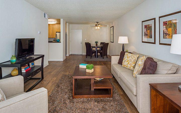 Hardwood floors in furnished unit at Los Feliz Village, Awater Village apartments in Los Angeles