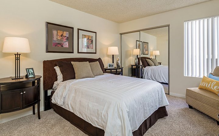 Furnished bedroom at the Atwater Village apartments community Los Feliz Village in Los Angeles