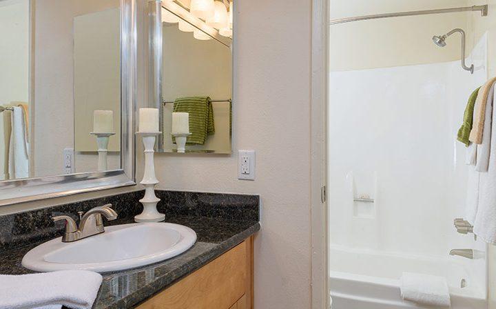 Furnished bathroom at the Atwater Village apartments community Los Feliz Village in Los Angeles