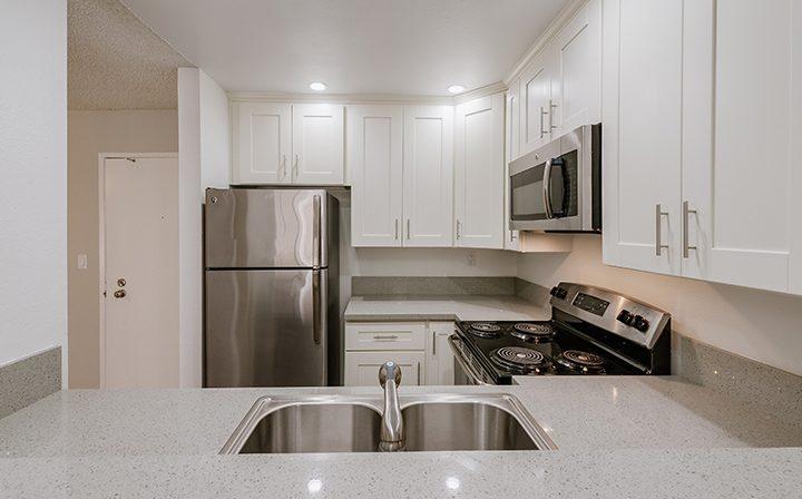 White kitchen nook at the Atwater Village apartments community Los Feliz Village in Los Angeles
