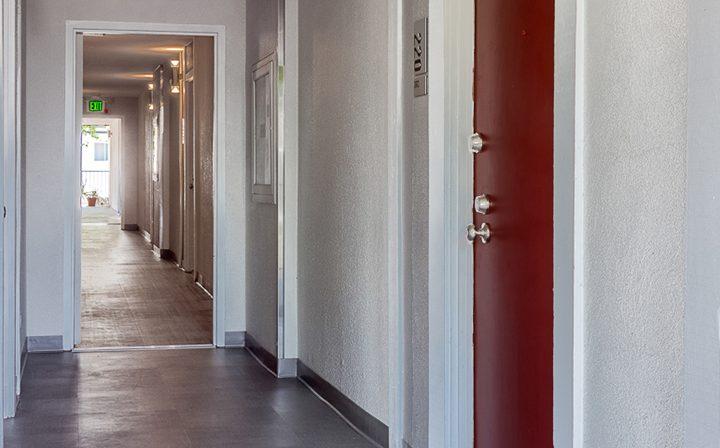 Apartment corridor at the Atwater Village apartments community Los Feliz Village in Los Angeles