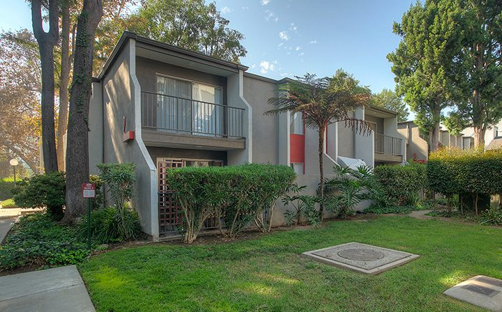 Grassy courtyard and bushes by units at Los Feliz Village, Awater Village apartments in Los Angeles