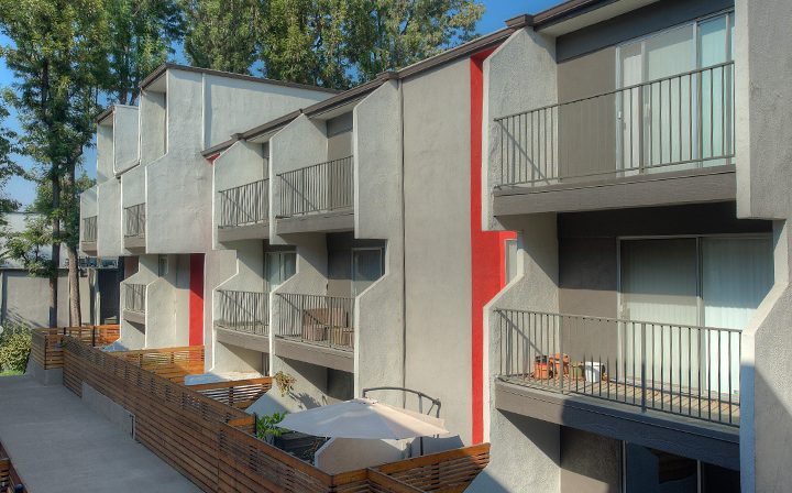Balconies of units in courtyard at Los Feliz Village, Awater Village apartments in Los Angeles