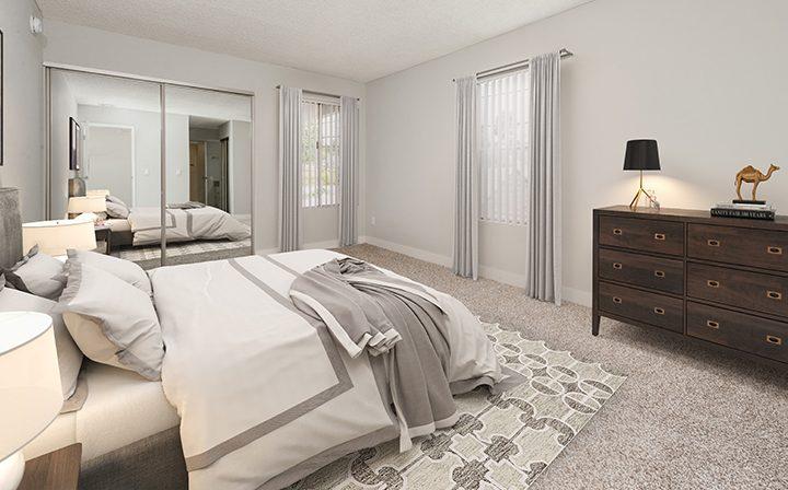 Furnished bedroom in model unit at Los Feliz Village, Awater Village apartments in Los Angeles