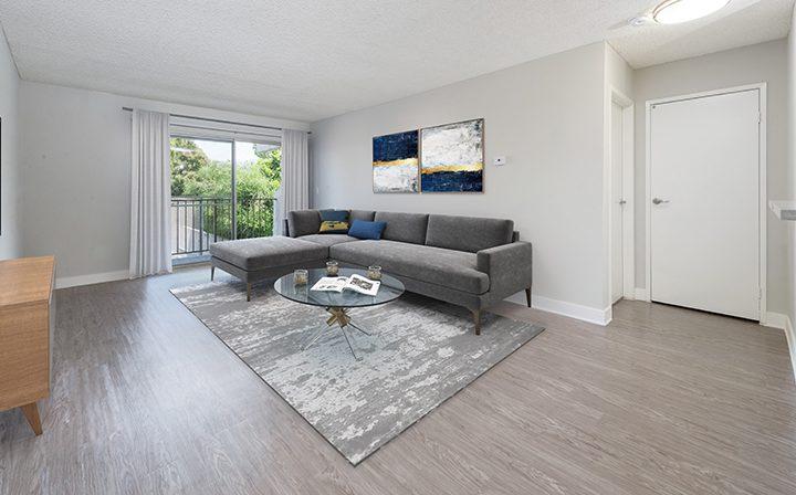 Furnished living room in model unit at Los Feliz Village, Awater Village apartments in Los Angeles
