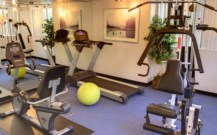 Exercise equipment in fitness center at Marlon Manor, Hollywood apartments in Los Angeles