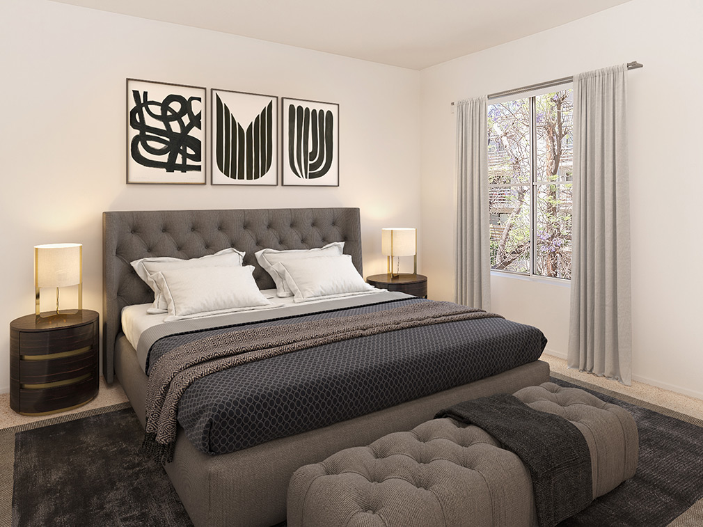 Furnished living room in model unit at Marlon Manor, Los Angeles apartments in Hollywood