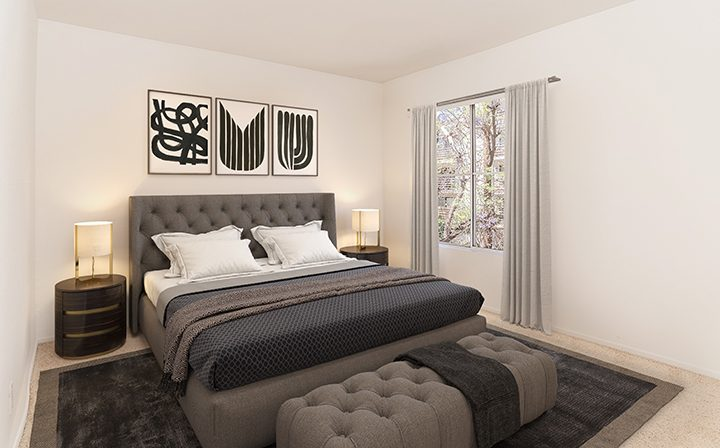 Furnished bedroom in model unit at Marlon Manor, Los Angeles apartments in Hollywood