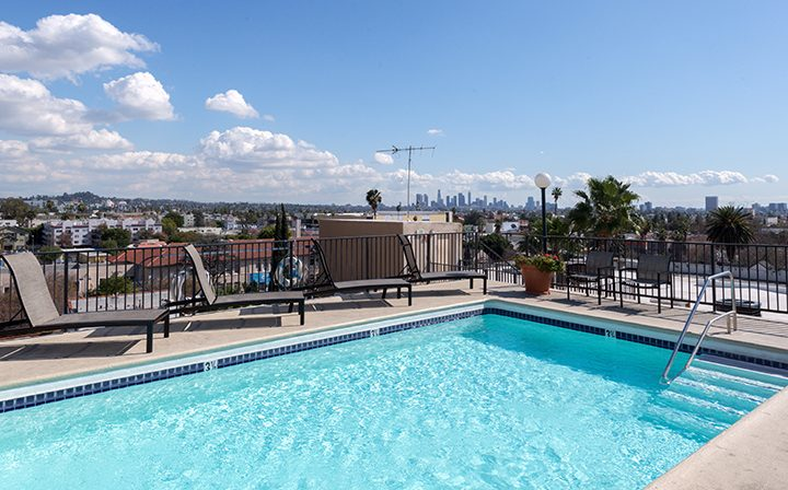 Cloudy day by rooftop pool at Media Towers, Los Angeles apartments in Hollywood