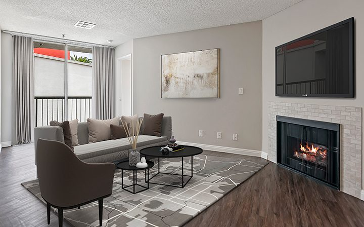 Furnished living room in model unit at Media Towers, Hollywood apartments in Los Angeles