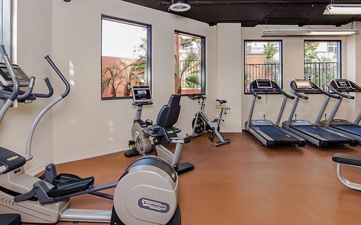 Cardio machines and treadmills Silicon Beach apartment Playa del Oro's indoor fitness center