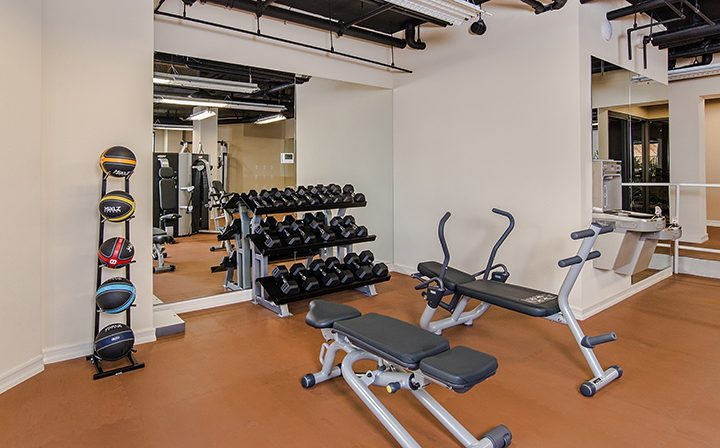 Free weights and benches in the Playa del Oro Silicon Beach apartment community fitness center