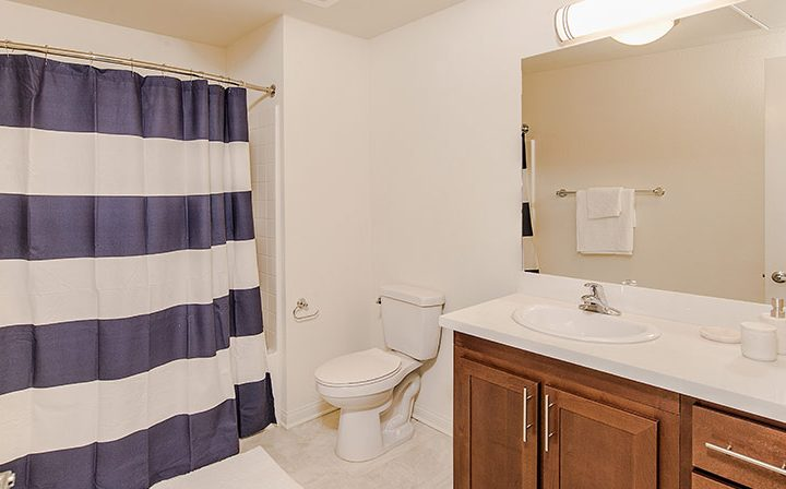 Playa del Rey apartment Playa del Oro bathroom interior with cabinets and tiled shower